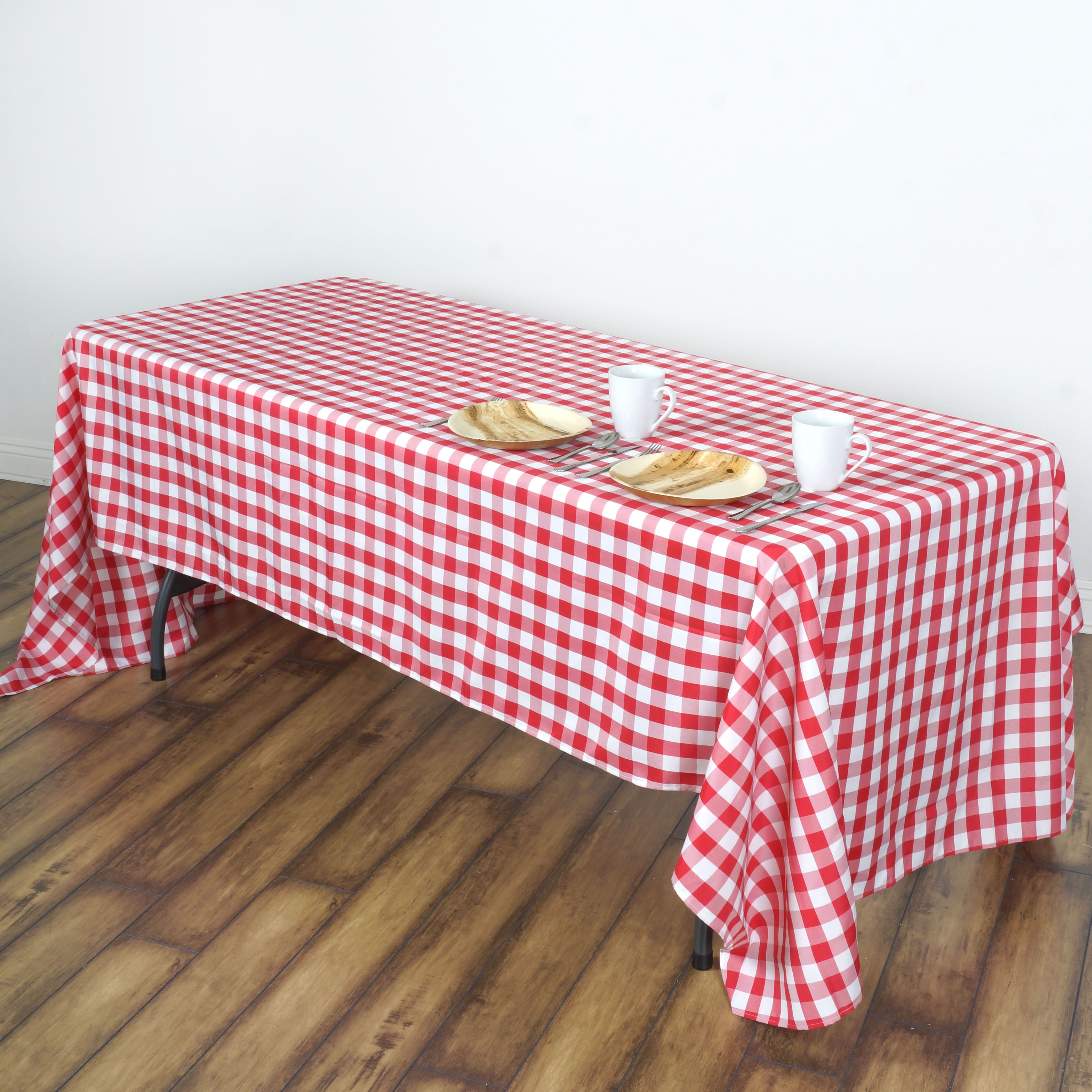 Balsacircle 60 X 102 Gingham Checkered Polyester Tablecloth For Garden Party Wedding Reception Catering Dining Table Linens Walmart Com Checkered Tablecloth Plaid Tablecloth Table Cloth