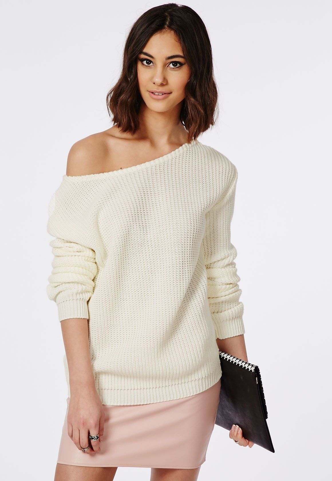 Ophelita Off Shoulder Knitted Sweater Cream - Knitwear ...