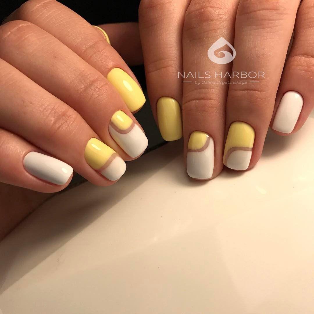 manicure, nail design, fashion nails art, желто- белый маникюр ...