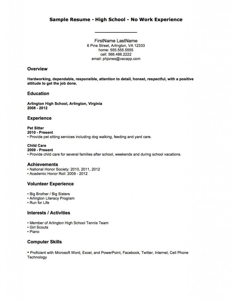 Sample resume high school no work experience first job for First time job resume for high school student