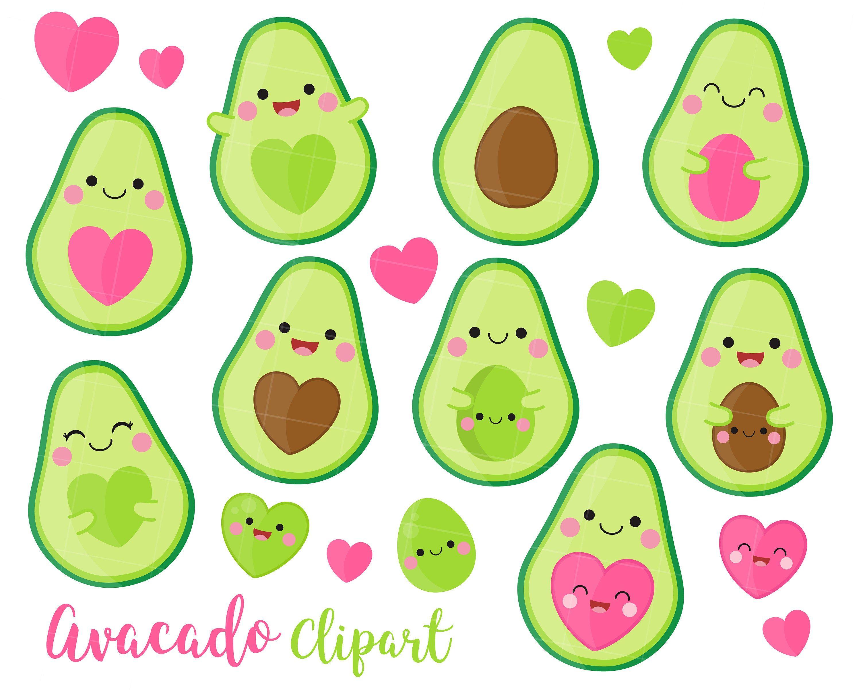 Avocado Clipart Avocado Clip Art Kawaii Avocado Fruit Clipart