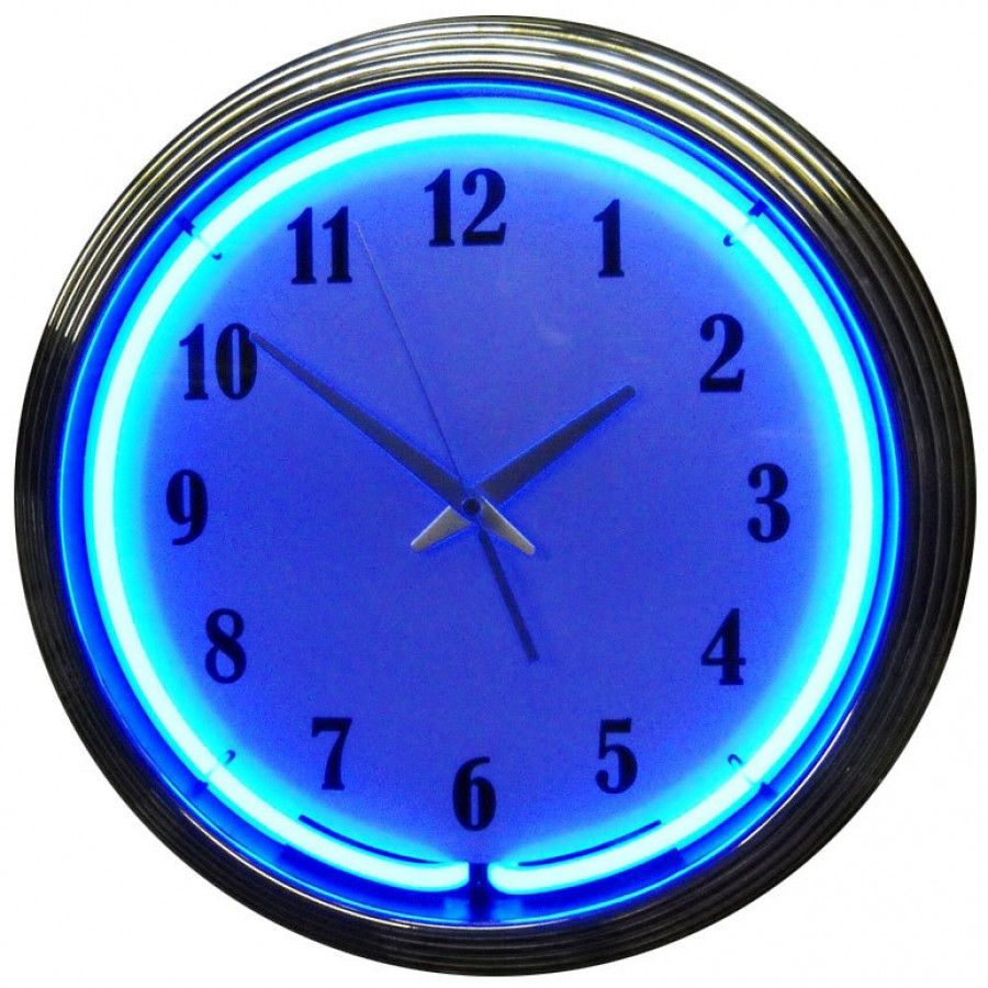 Chrome Blue Neon Clock Blue neon lights, Neon