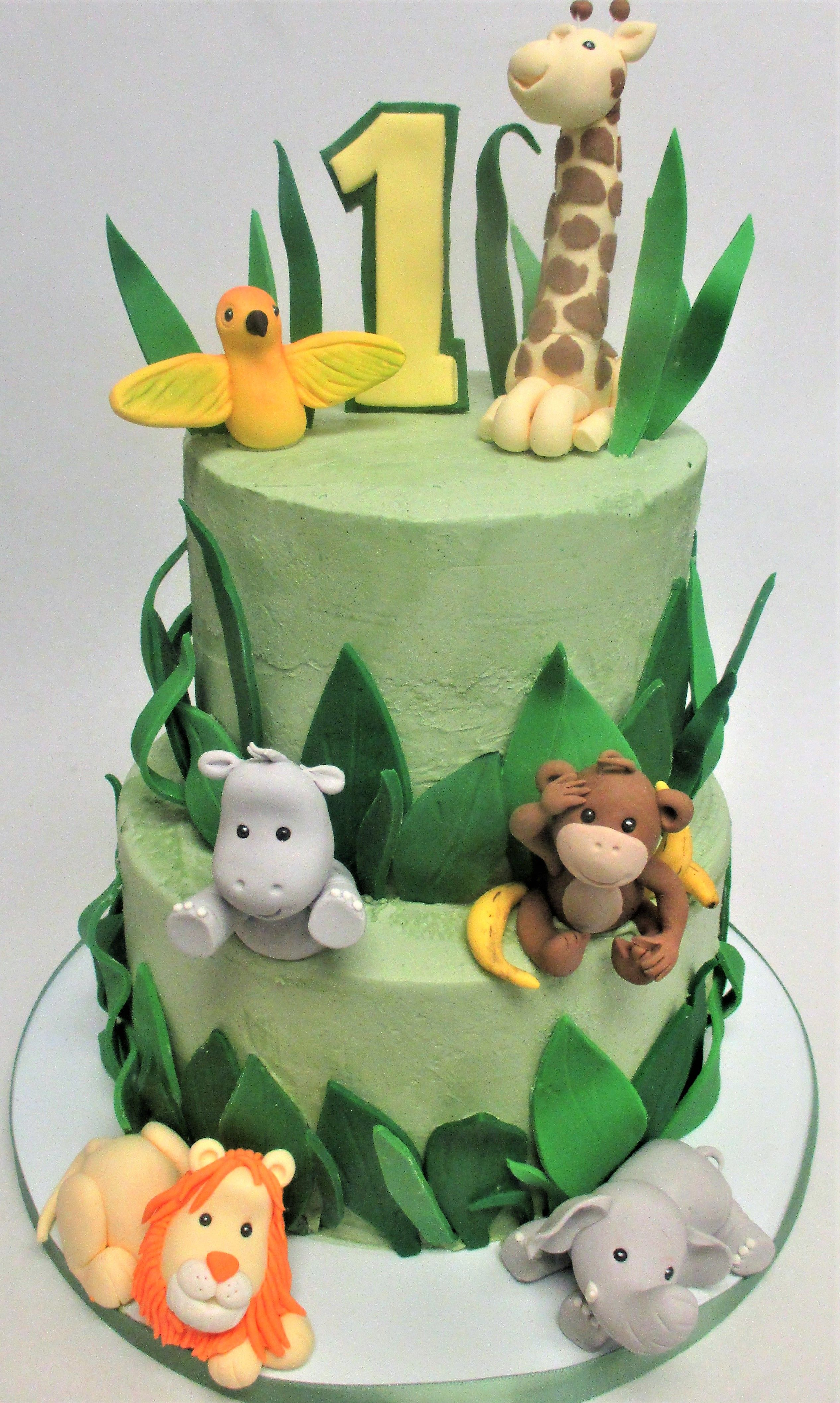 2Tier Jungle Themed First Birthday Cake by Flavor Cupcakery Cake