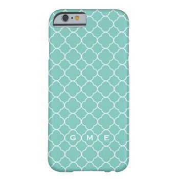 Quatrefoil clover pattern blue teal 3 monogram iPhone 6 case