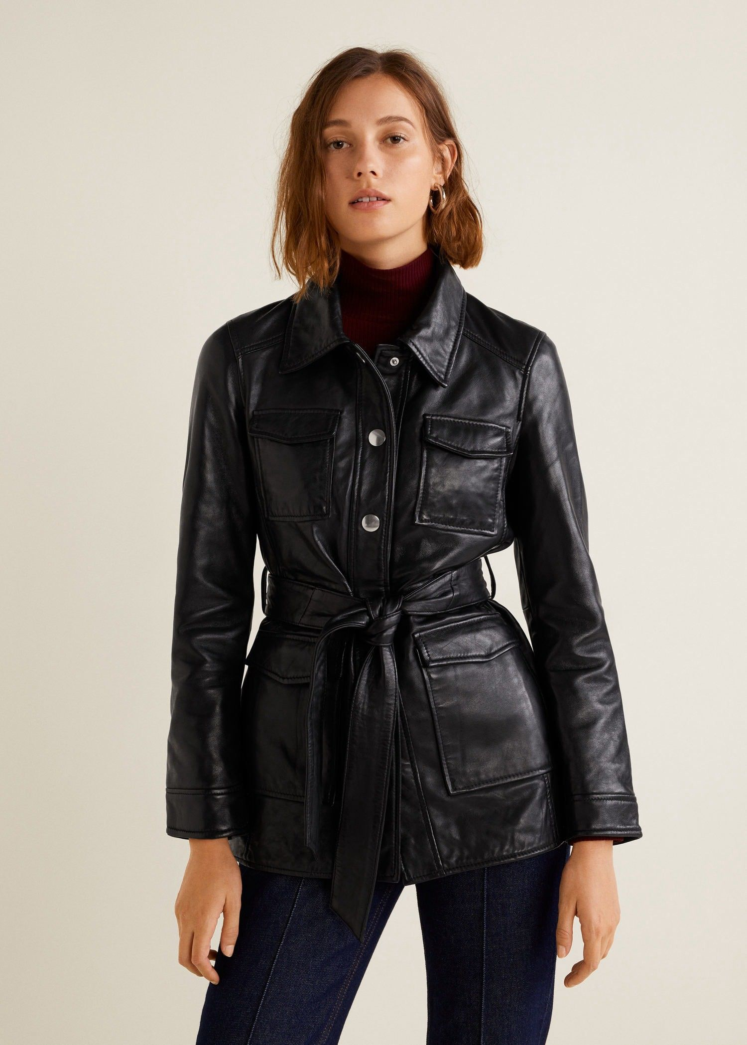5ad932c2115 Mango Pockets Leather Jacket - Black Xxs in 2019