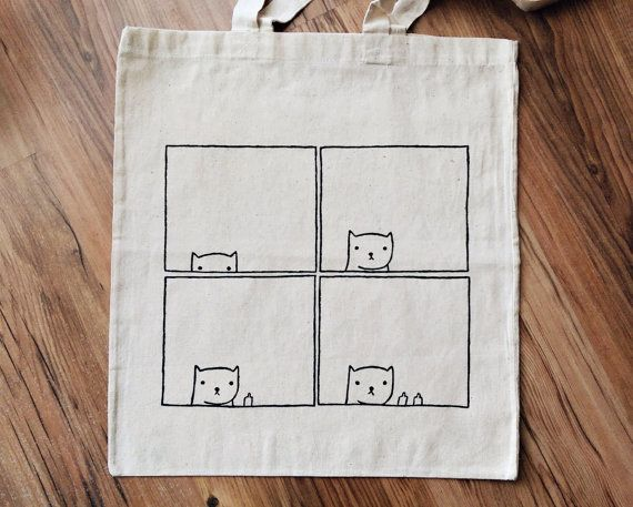 Gato arrogante TOTE BAG | pintado a mano | bolso de compras, bolso de supermercado, bolso reutilizable, bolso de gato, bolso de señora de gato, sarcasmo, bolso divertido, bolso personalizado