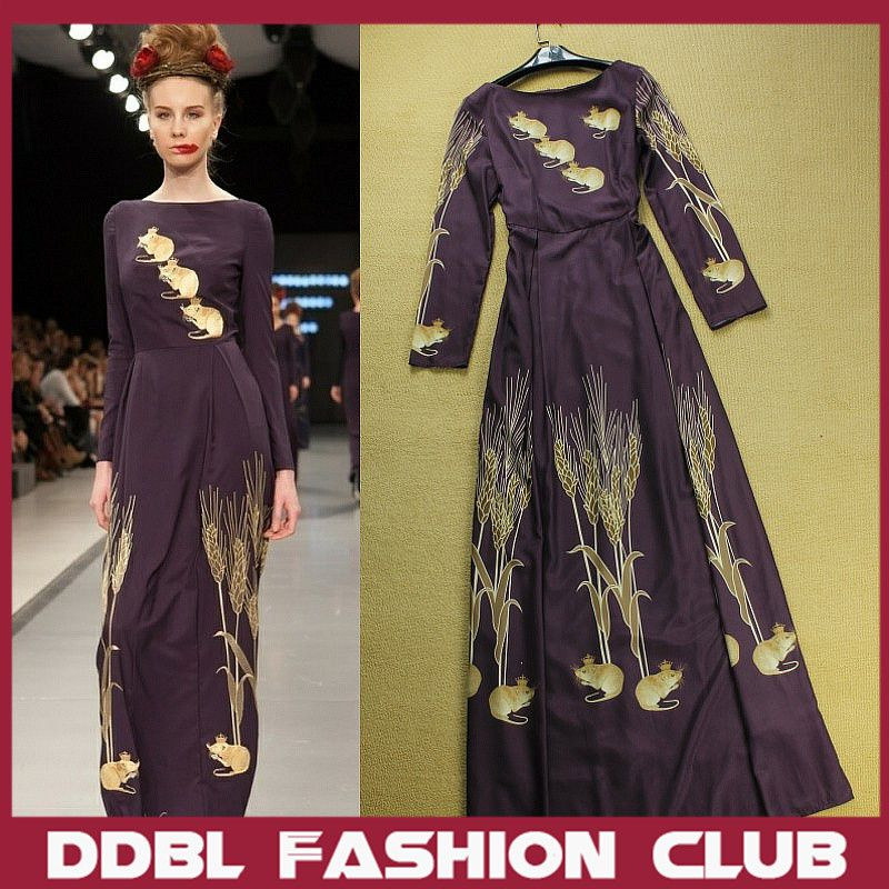DDBL 2013 Autumn Color Women's Brown Animal and Wheat Plat Print Long Sleeve O Neck Maxi Runway Dresses $79.99
