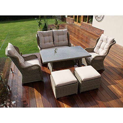 Dorset Rattan Garden Furniture Rounded High Back Sofa Dining Set ...