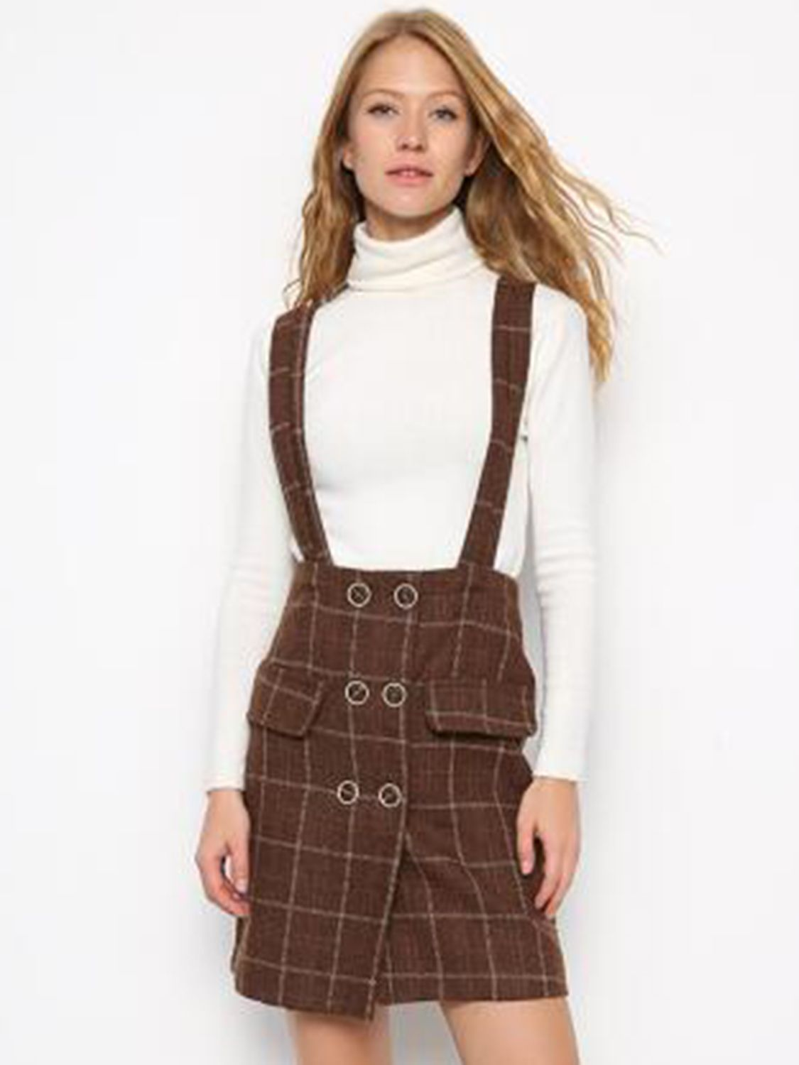 Khaki Plaid Double Breasted High Waist Wool Blend Overall Dress