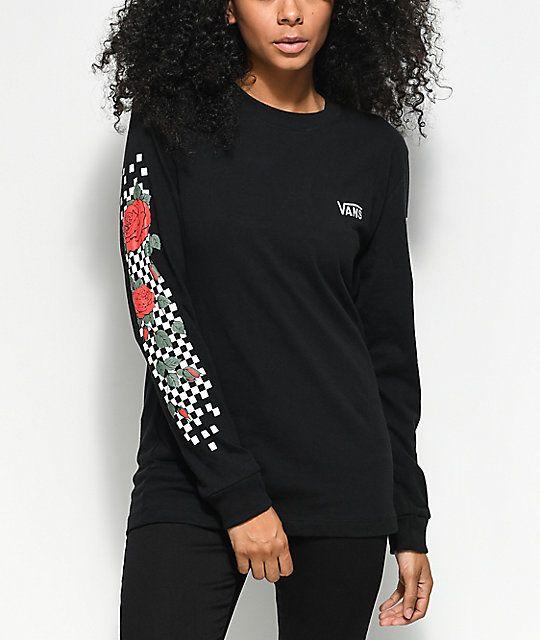 7bb5a3be9 Vans Checkered Rose Black Long Sleeve T-Shirt www.zumiez.com/vans -checkered-rose-black-long-sleeve-t-shirt.html