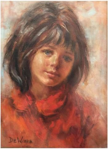 Lisette De Winne (American, 20th century), Portrait of a Young Girl, oil on canvas, signed