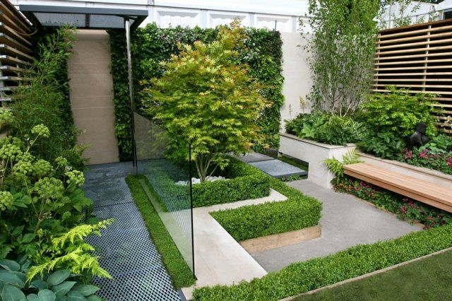 Kleingarten Anlegen Ideen Gartenbank Holzzaun Betonboden