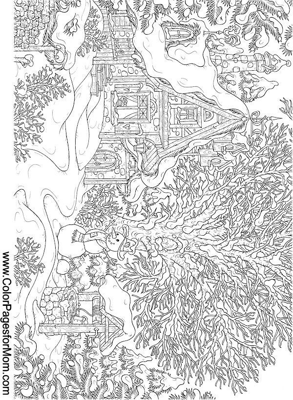 detailed landscape coloring pages for adults | landscape coloring page 15 | Coloring Pages | Christmas ...
