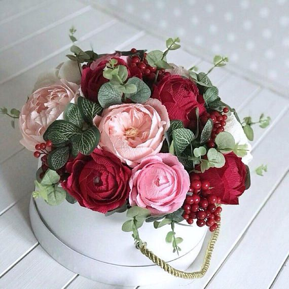 Red paper bouquet Candy bouquet Crepe paper flowers Burgundy Paper ...