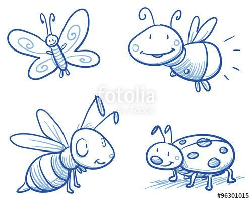 Download Vector Set Of Cute Little Cartoon Insects Lady Bug