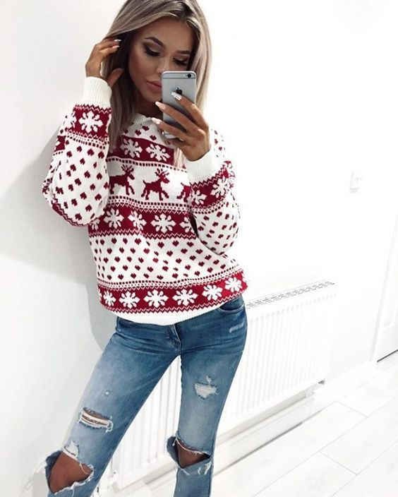 cute dear snowflake sweater +ripped jeans| cool Christmas outfits - 30+Winter Outfits You Have To Try This Xmas Holiday Christmas
