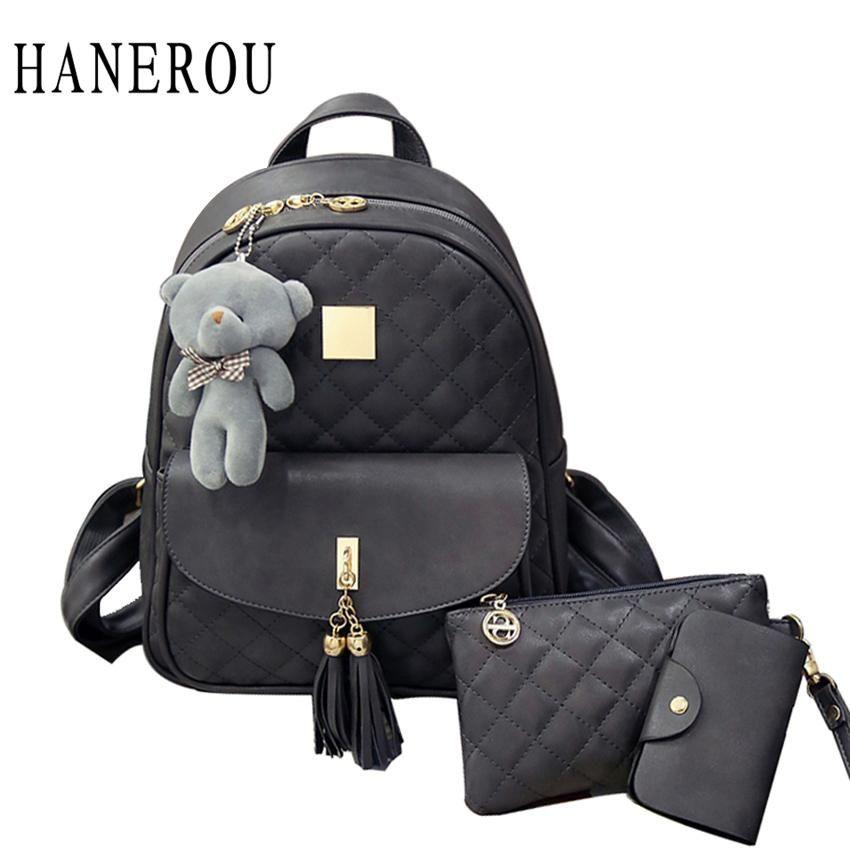 3 Pcs Bear Backpack Women Bag Diamond Lattice School Bags For Girls  Backpacks For Women 2018 d5d5982f11533