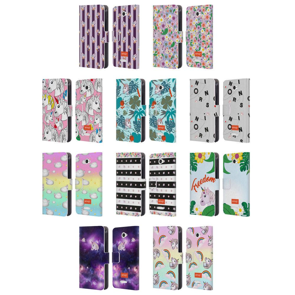 Official Emoji Unicorns Leather Book Wallet Case Cover For Sony Phones 2 Leather Books Emoji Phone Cases Sony Phone
