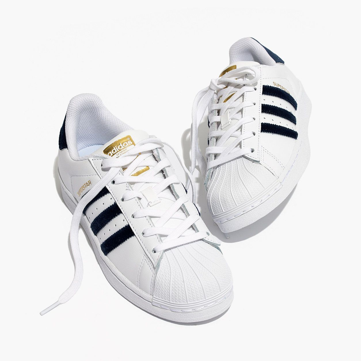 finest selection 896e2 8140e Madewell Womens Adidas Superstar Lace-Up Sneakers In Velvet