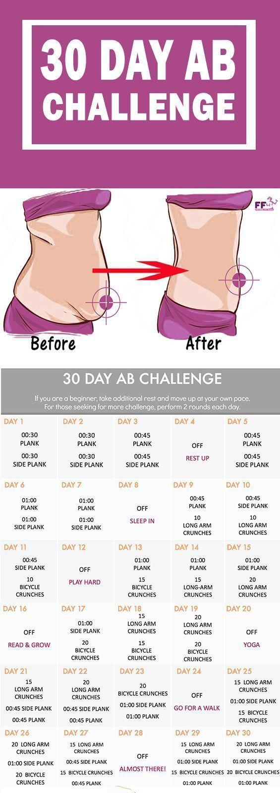 30-Tage-Ab-Challenge - Best Ab Übungen, um schnell Bauchfett zu verlieren. Das beste Worko ..., #bau...