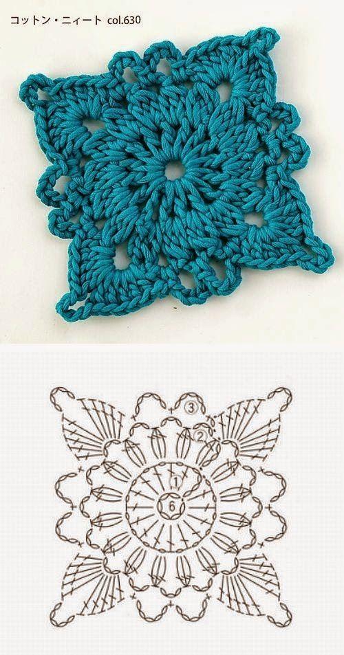 квадратные мотивы крючком схемы крючком Croché Ganchillo и