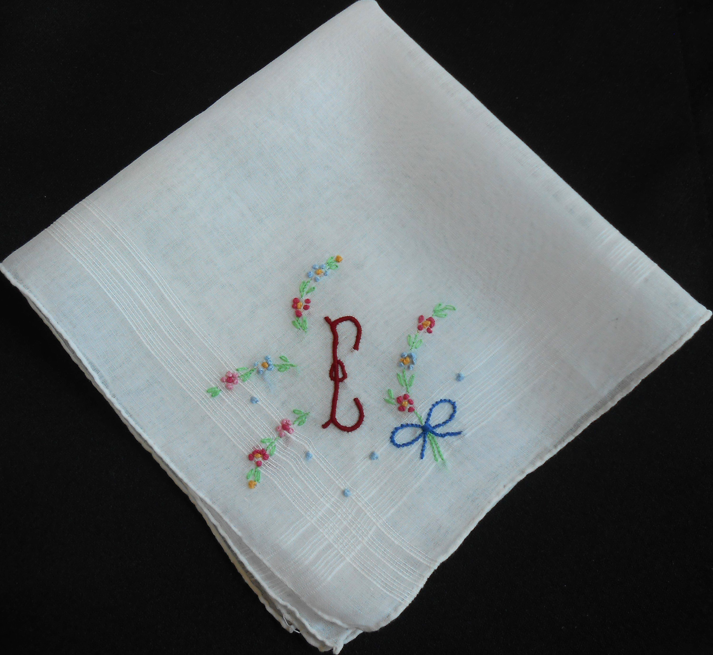 Antique Handkerchief with Flower Pattern White Wedding Something Old