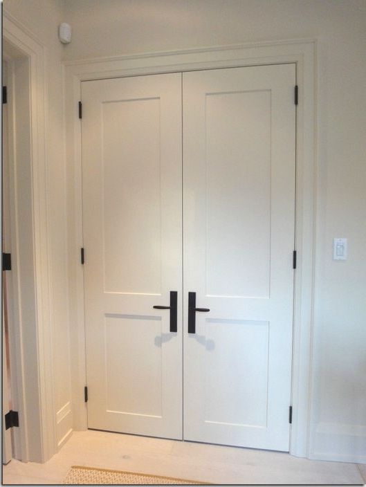 White Interior Doors With Black Hardware Photo