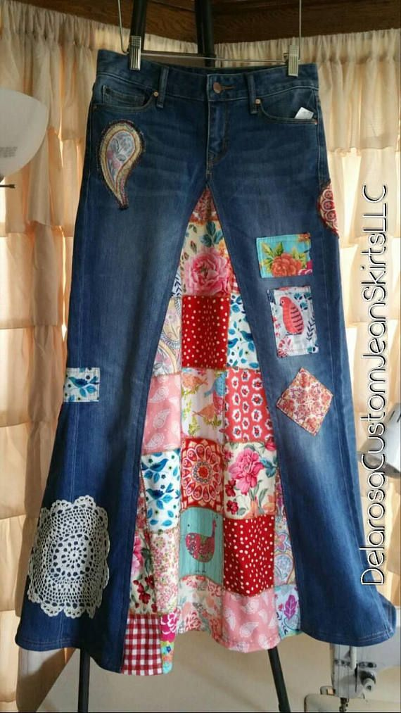DELAROSA Classic Hippie patchwork Long Jean Skirt made to your size and length