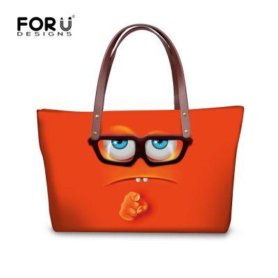 Brand Top-Handle Bag Satchel Girls Designer Women Handbag Funny Emoji Printed Shoulder Bags Ladies Large Tote Bag Bolsa Feminina