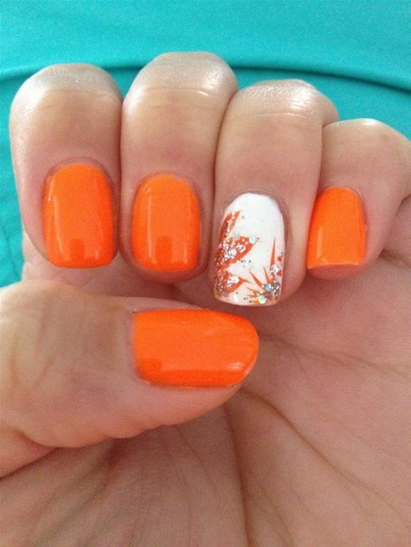 Orange Summer Nails Pampadour Orange Nail Art Orange Nails Summer Nails 2014