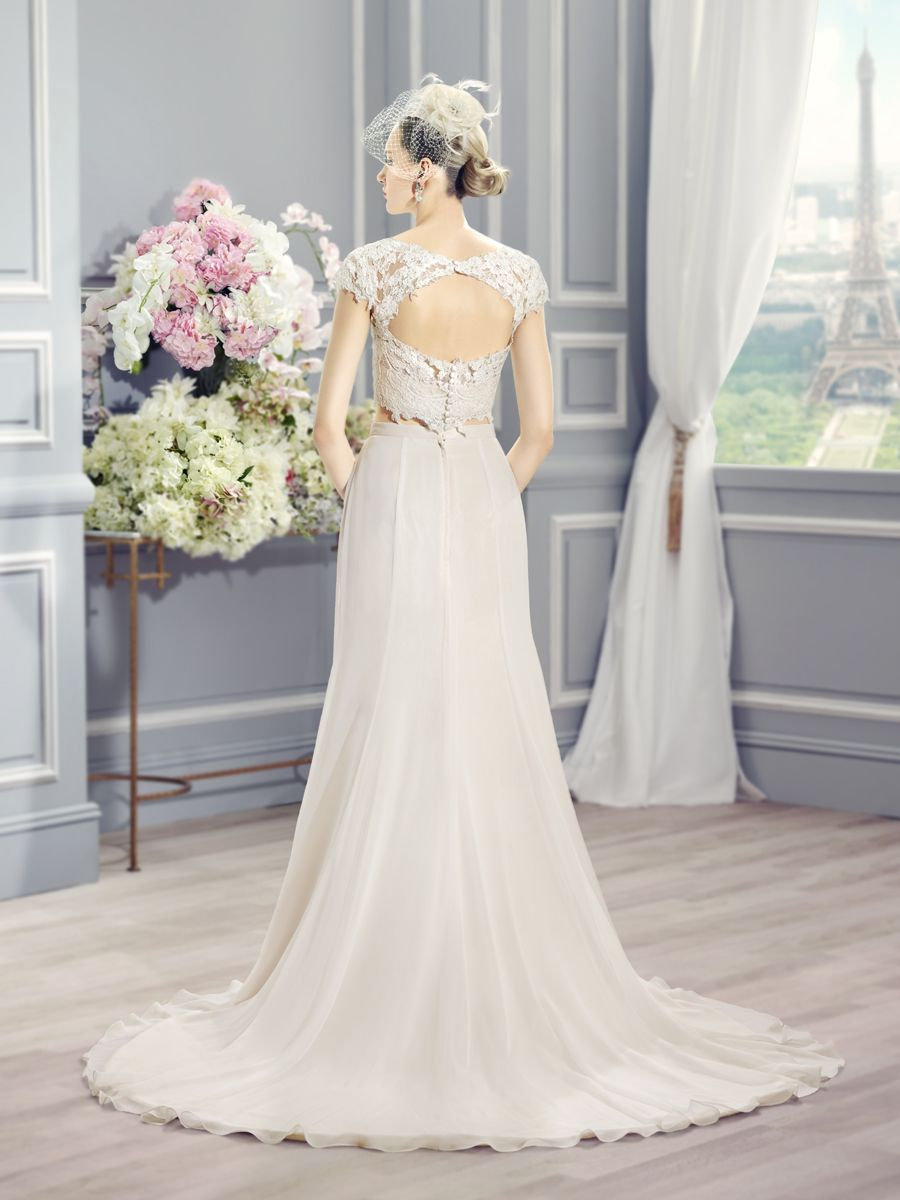Keyhole Back TwoPiece Wedding Dress w/crop top. Moonlight