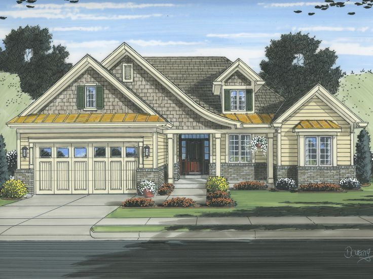046h 0103 Empty Nester House Plan With European Styling Cottage Style House Plans Ranch Style House Plans Cottage Floor Plans