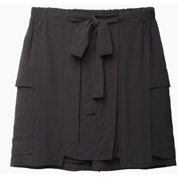 Isabel Marant Clyde Skirt ($240) ❤ liked on Polyvore featuring skirts, straight skirt, cargo skirt, isabel marant, tie belt et short skirts