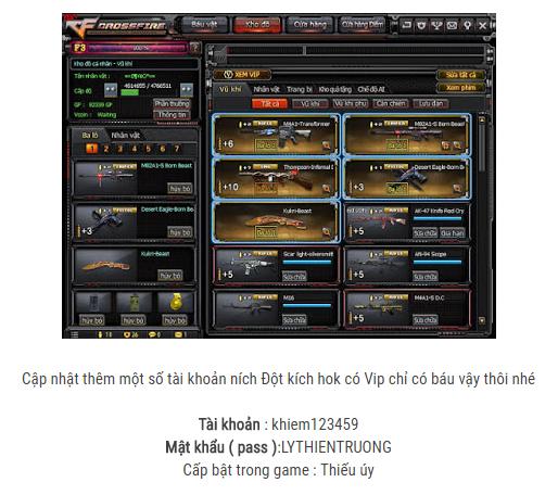 Share acc cf đột kích miễn phí vip với barrett và kukri beast - Tạp chí game