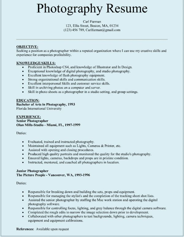 Sample-Photographar-resume Resume Examples Pinterest Sample resume - Photography Objective Resume