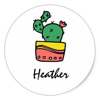 Trendy cool cactus personalized name template classic round sticker