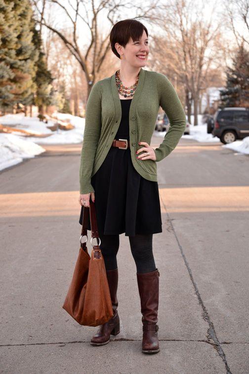 Already Pretty outfit featuring olive green cardigan, black full skirt dress, Frye Vera Slouch boots, Ellington hobo, Dana LeBlanc necklace