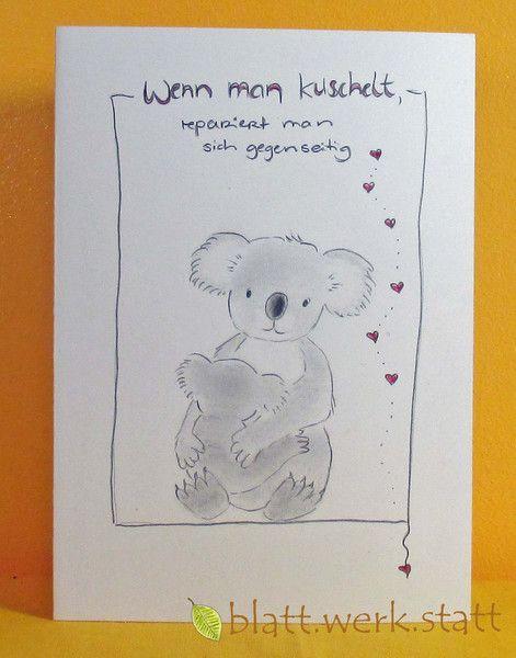 Muttertag & Vatertag - Glückwunschkarte Muttertag handgemalt - ein Designerstück von blattwerkstatt bei DaWanda