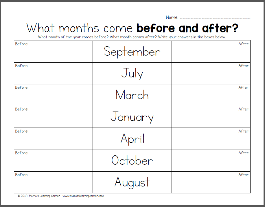 Months Of The Year Worksheets In 2020 Months In A Year 2nd Grade Worksheets Calendar Skills