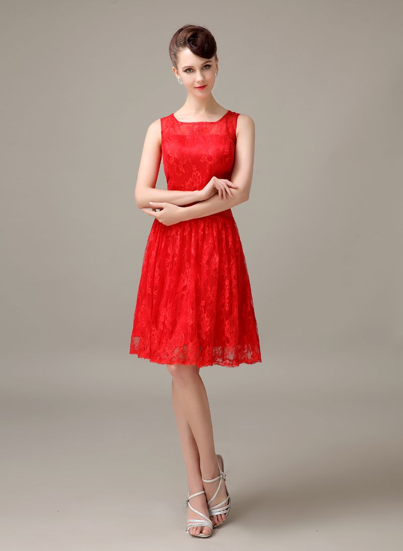 Click to buy ucuc red lace short cheap simple discount modest