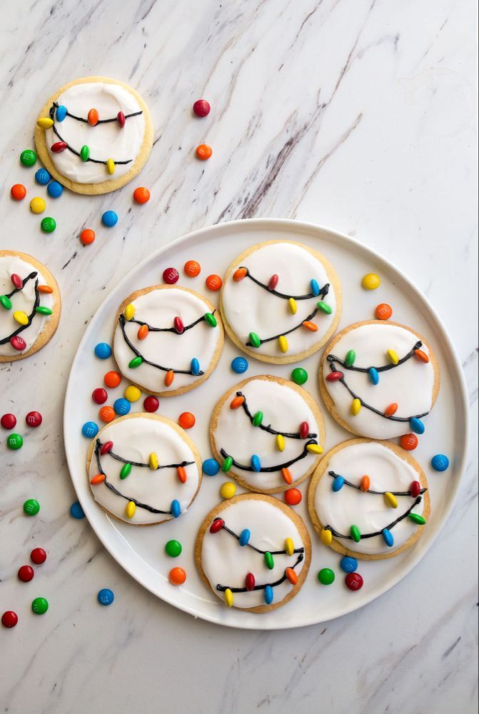 Christmas Lights Cookies for Santa! A small batch sugar cookie recipe with easy royal icing and M&Ms. Christmas Lights Cookies for Santa! A small batch sugar cookie recipe with easy royal icing and M&Ms.