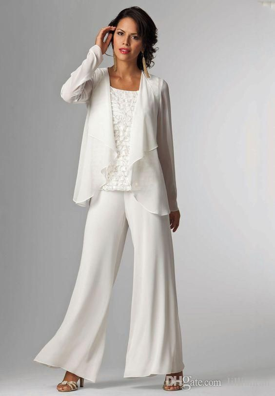 Ivory White Chiffon Lady Mother Pants Suits Mother Of The Bride