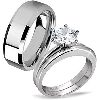 His Hers Stainless Steel Men S Band Women Cubic Zirconia Round Cut Wedding Engagement Ring Set