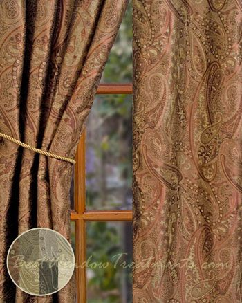 Vanderbilt Paisley Jacquard Curtains In Sienna With Lining