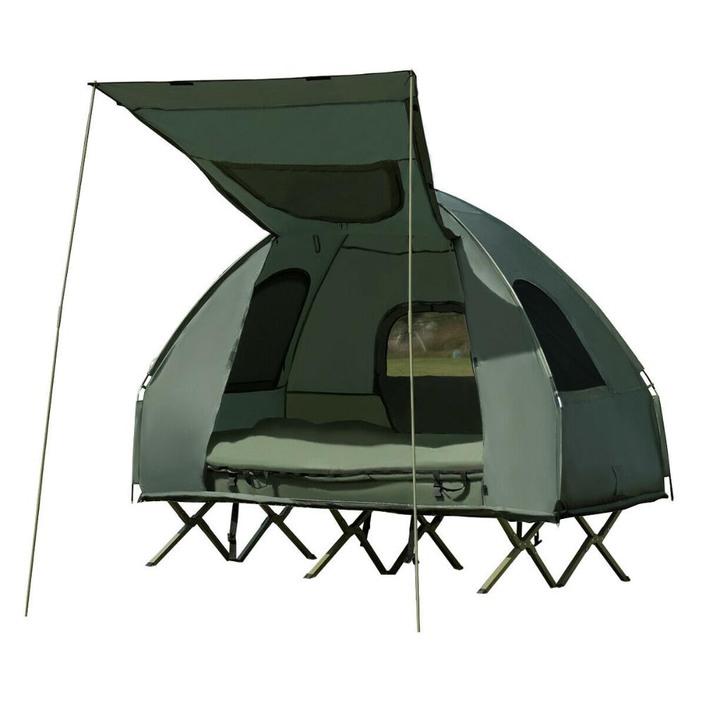 Gymax 2 Person Compact Portable Pop Up Tent Camping Cot W Air Mattress Sleeping Bag Walmart Com In 2020 Tent Cot Cool Tents Tent