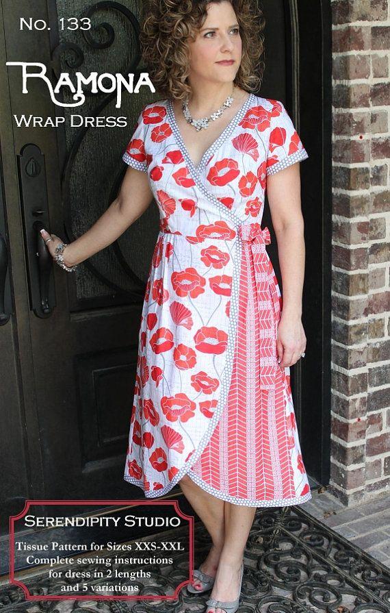 The Ramona Wrap Dress sewing pattern from by SweetPeaFabricsUT, $11.00