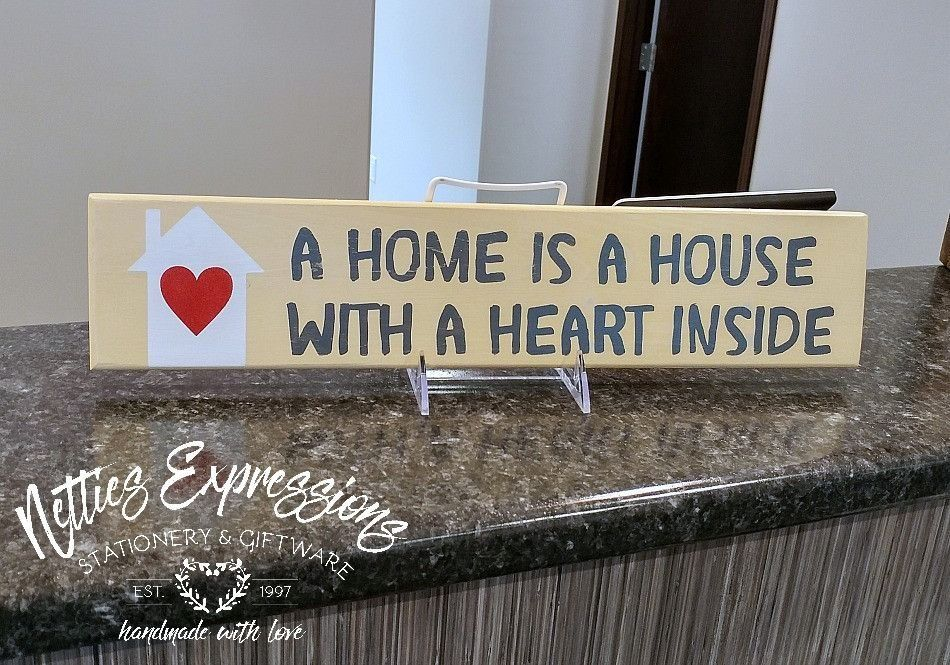 A home is a house with a heart inside 4x18 Wood Sign - Netties Expressions - 2