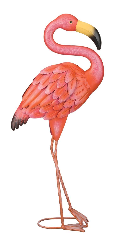 So Pretty In Pink Flamingo Standing Metal Art Garden Patio 400 x 300