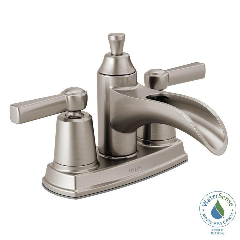 Delta Davis 4 In Centerset 2 Handle Bathroom Faucet In Chrome 25746lf The Home Depot Delta Faucets Bathroom Bathroom Faucets Bathroom Faucets Brushed Nickel [ 1000 x 1000 Pixel ]