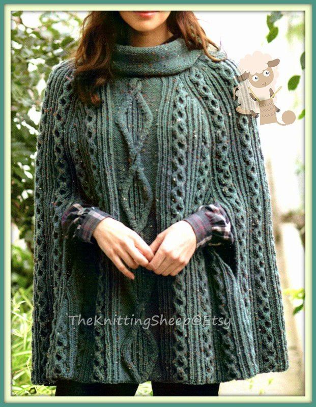 PDF Knitting Pattern - Ladies Cabled Poncho or Cape in Aran wool ...